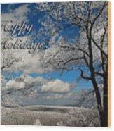 My Sunday Happy Holidays Card Wood Print