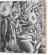 My Tea Kettle Black And White Wood Print