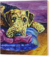 My Teddy Airedale Terrier Wood Print by Lyn Cook