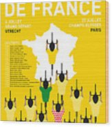 My Tour De France Minimal Poster Etapes 2015 Wood Print