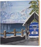 My Van In The Rain Wood Print by K J Gordon