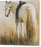 My White Horse  Wood Print