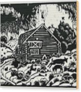 My Wyoming Cabin In Winter Wood Print