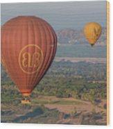 Myanmar. Bagan. Hot Air Balloons. In The Air. Wood Print