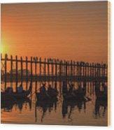 Myanmar. Taungthaman Lake. U Bein Bridge. Sunset. Wood Print