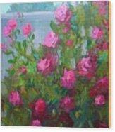 Myback Yard Roses Wood Print