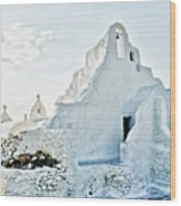 Mykonos Church In White Wood Print