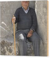 Mykonos Man With Walking Stick Wood Print