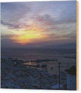 Mykonos Sunset Greece Wood Print