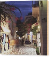 Mykonos Town At Night Wood Print