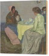 Myron G. Barlow 1873 - 1937 Dutch Women Drinking Coffee Wood Print