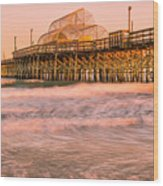Myrtle Beach Apache Pier At Sunset Panorama Wood Print