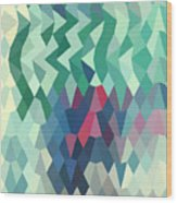 Myrtle Green Abstract Low Polygon Background Wood Print