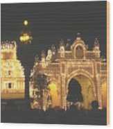 Mysore Palace Main Gate Temple Gloriously Lit At Night Wood Print