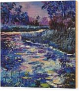 Mysterious Blue Pond Wood Print