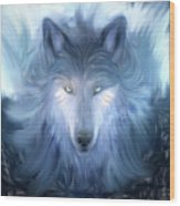 Mysterious Wolf Hand Painted Wood Print