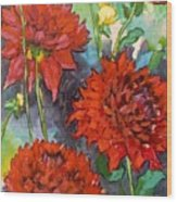 Mystery Day Dahlias Wood Print
