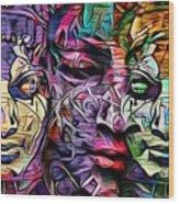 Mystic City Faces - Version B  Wood Print