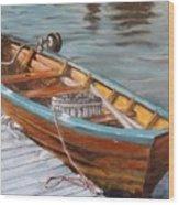 Mystic Fishing Boat Wood Print