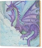 Mystic Ice Palace Dragon Wood Print by Morgan Fitzsimons