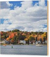 Mystic River In Autumn Wood Print