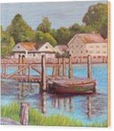 Mystic River View Wood Print
