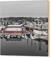 Mystic Seaport In Winter Wood Print