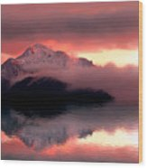 Mystic Sunset With Mountain Reflection And Lake Wood Print