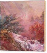 Mystic Waterfall Wood Print