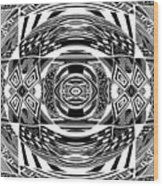 Mystical Eye - Abstract Black And White Graphic Drawing Wood Print