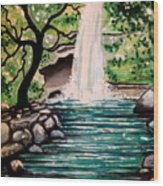 Mystical Waterfall Wood Print