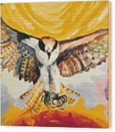 Mythical Eagle Perching Oil Painting Wood Print
