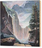 Mythical Valley Falls Wood Print