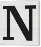 N In Black Typewriter Style Wood Print