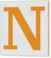 N In Tangerine Typewriter Style Wood Print