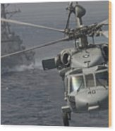 N Mh-60s Knight Hawk Delivers Supplies Wood Print