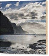 Na Pali Coast Kauai Hawaii Wood Print by Brendan Reals