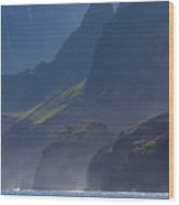Na Pali Morning Mist Wood Print