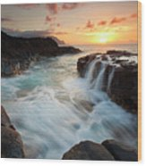 Na Pali Sunset Wood Print by Mike  Dawson