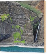 Na Pali Waterfall Wood Print