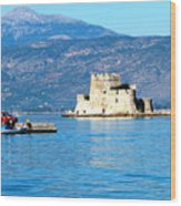 Naflion Greece Harbor Fortress Wood Print