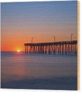 Nags Head Fishing Pier Sunrise Wood Print