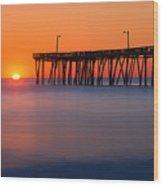 Nags Head Fishing Pier Sunrise Panorama Wood Print