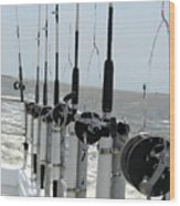 Nags Head Nc Fishing Poles Wood Print