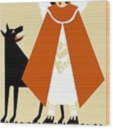 Naive Art Deco Little Red Riding Hood Wood Print