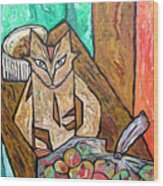 Naive Cat With Apples Wood Print