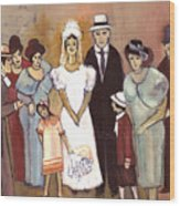 Naive Wedding Large Family White Bride Black Groom Red Women Girls Brown Men With Hats And Flowers Wood Print