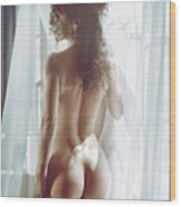Naked Back Of A Beautiful Half Nude Woman Standing By The Window Wood Print