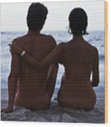 Naked Couple On Beach Wood Print by Stan Fellerman
