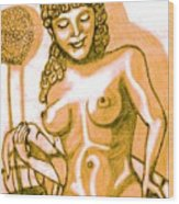 Naked Goddess Wood Print